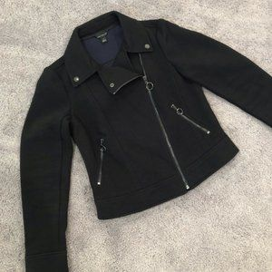 Ann Taylor Twill Moto Jacket in Black